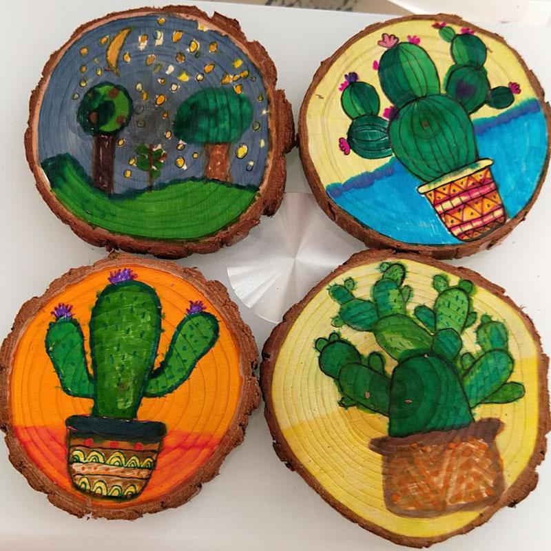 圆木片diy手绘装饰原木片木头片幼儿园绘画儿童美术画画年轮杉木