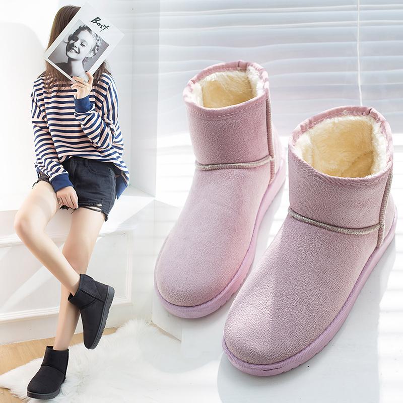 新款冬季加绒加厚面包鞋雪地靴短筒防滑绒面棉鞋学生女靴子百搭