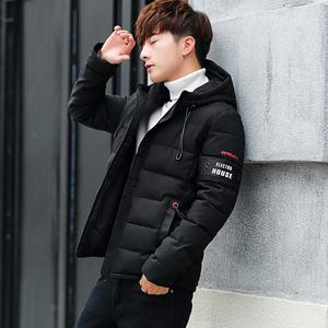 冬季外套男士棉衣2018新款潮流韩版修身连帽加厚中长款棉袄面包服