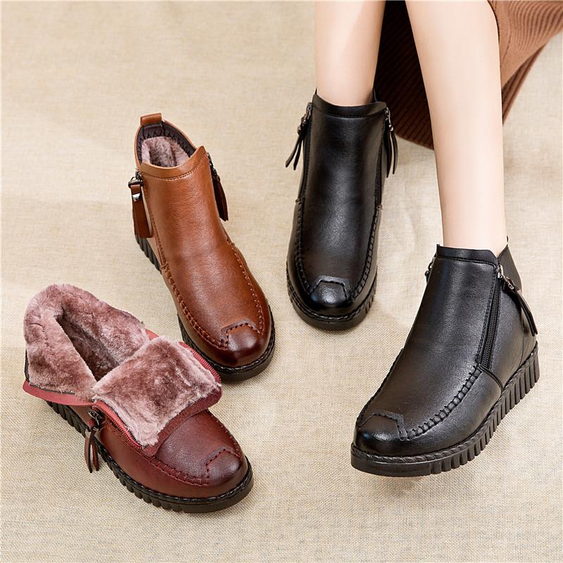 妈妈鞋冬季加绒保暖棉鞋中年女鞋平底防滑中老年短靴老人软底皮鞋