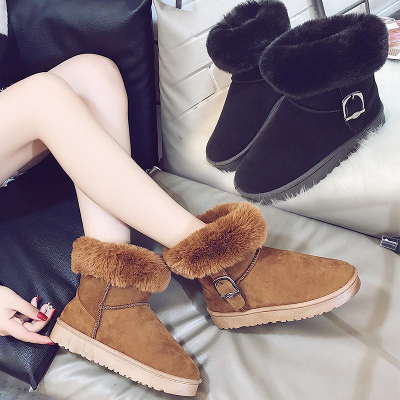 兰茵朵2018秋冬新款百适雪地靴女短筒套筒平底加绒保暖棉鞋防滑