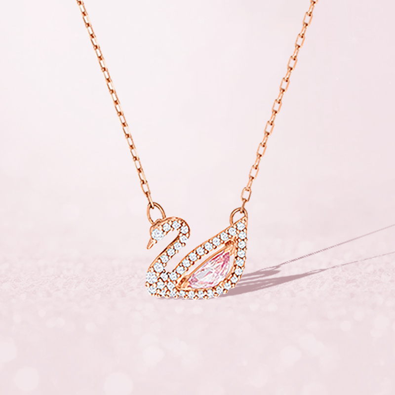 施华洛元素天鹅项链女纯银粉色水晶轻奢品牌锁骨链生日礼物送女友