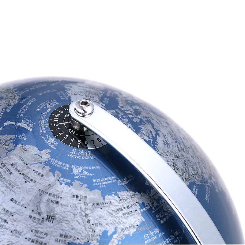 得力金属地球仪25CM摆件办公室家用学生用高清地图中文教学地图
