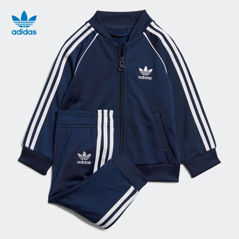 阿迪达斯官网三叶草婴童装经典运动条纹拉链运动套装ED7669EI9855