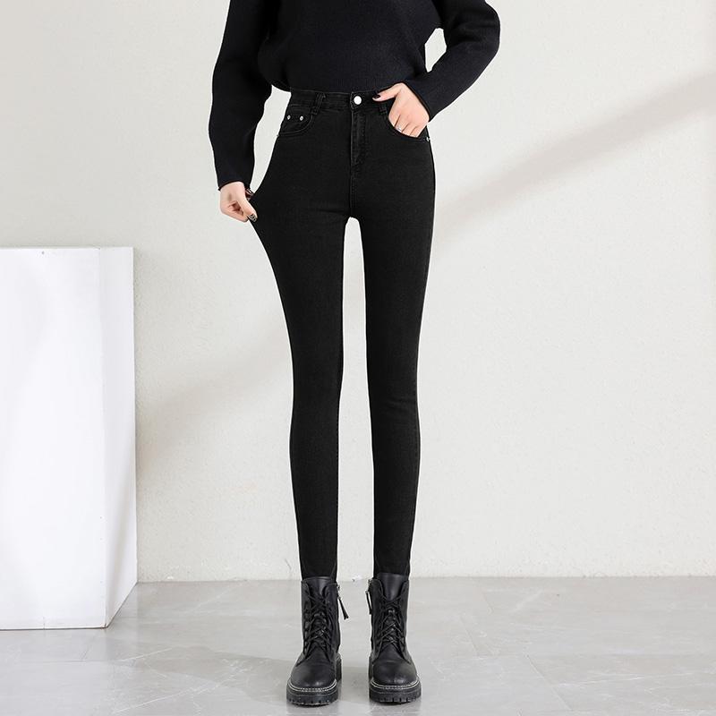 加绒加厚牛仔裤女黑色2020秋冬新款高腰显瘦紧身小脚铅笔裤ins潮