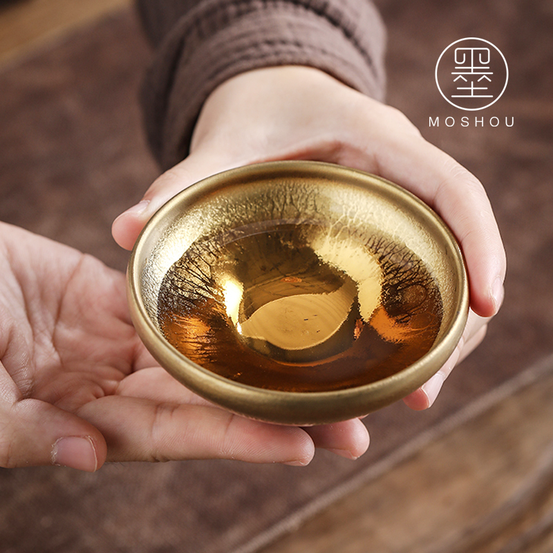 By gold oil droplets built light ceramic sample tea cup tea bowl is gold, kung fu tea cups master cup single CPU