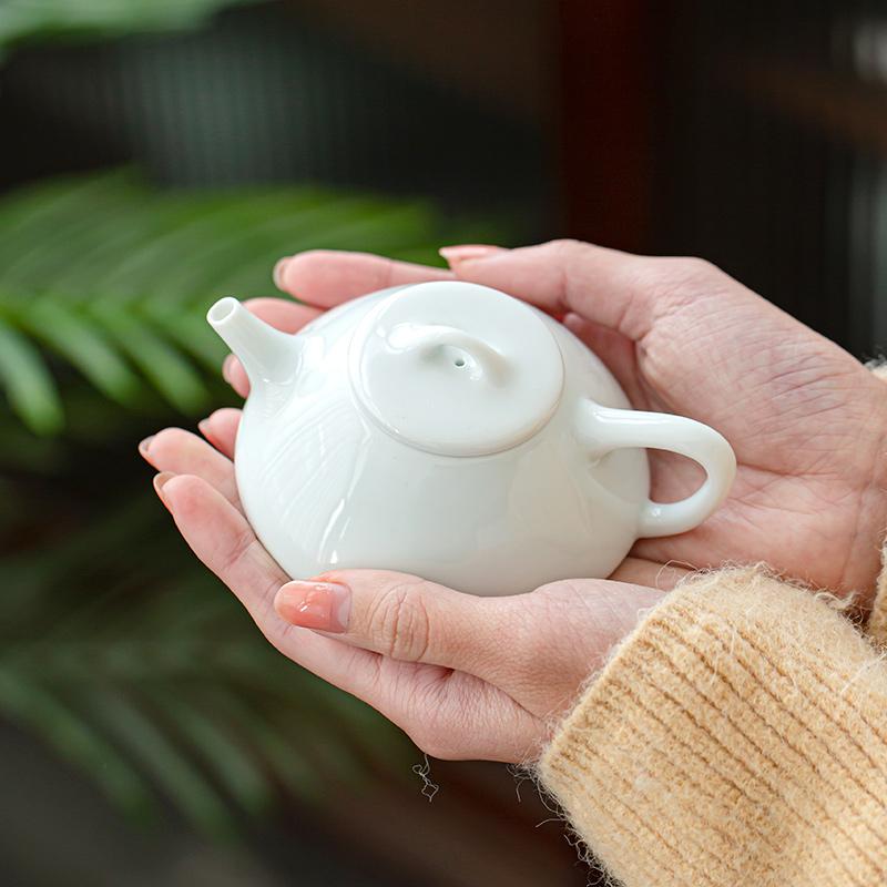 影青石瓢壺景德鎮薄胎青瓷 日式功夫辦公茶具淡青陶瓷過濾泡茶器