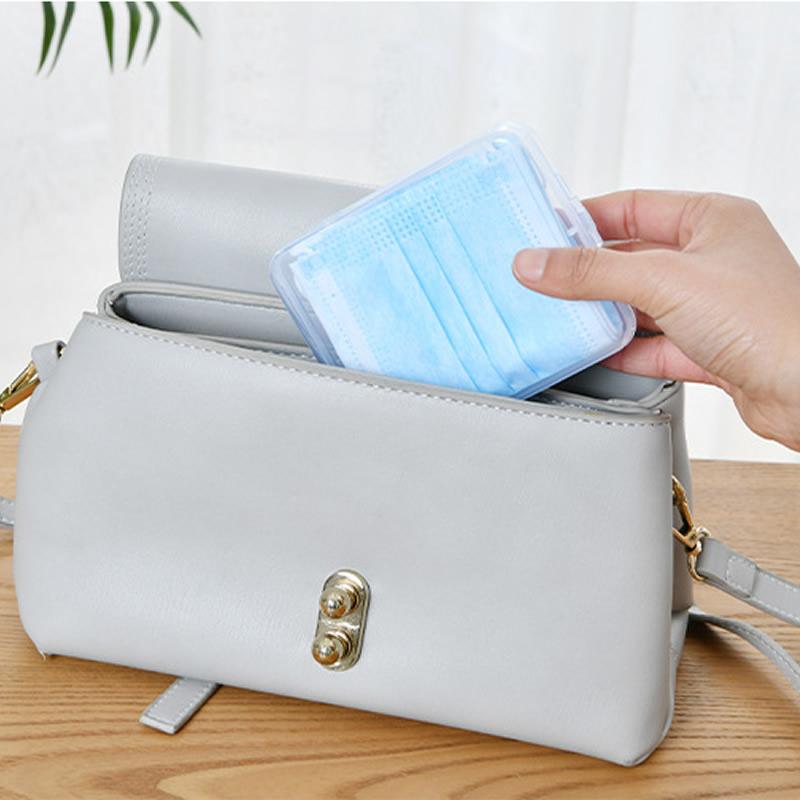 塑料盒子便携透明口罩收纳盒暂存票据盒一次性收纳袋储物收纳夹