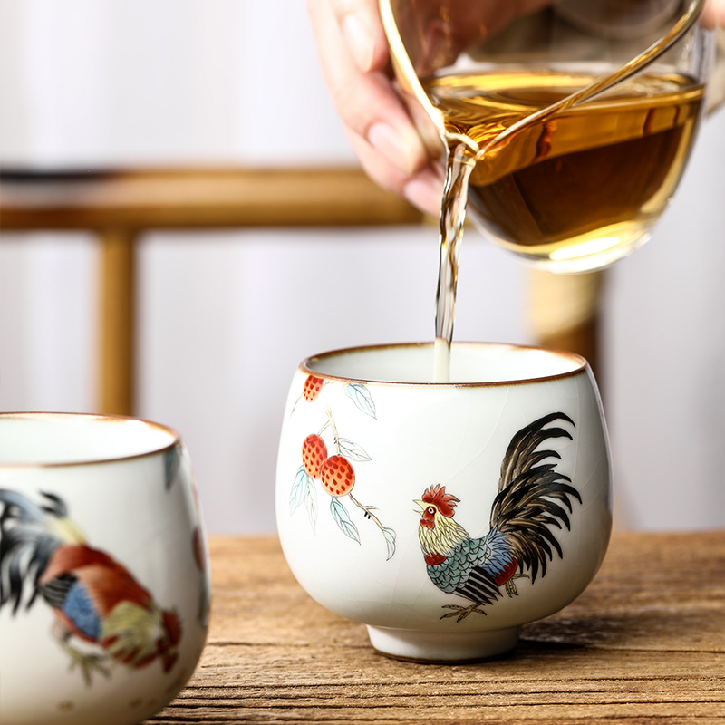 Your up hand - made master kung fu tea cup single CPU jingdezhen ceramic sample tea cup only zodiac chicken cup pure manual