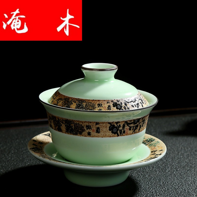 Submerged wood celadon kung fu tea set suit household elder brother up with elegant interface for a cup of tea tureen large cups