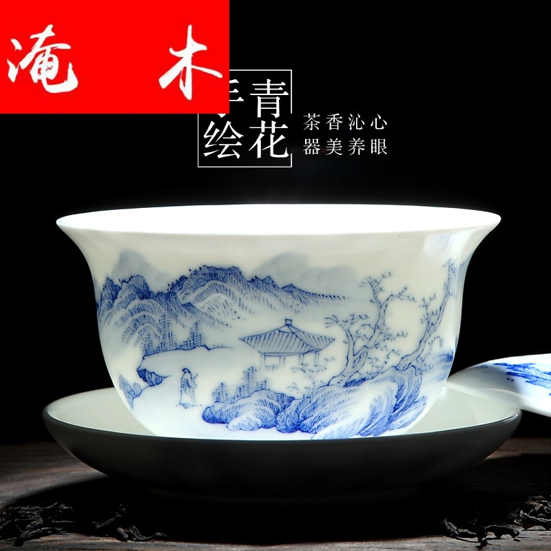 Flooded wood tureen tea cups kung fu tea set large white porcelain of jingdezhen ceramics thin foetus tea three bowl is only blue and white