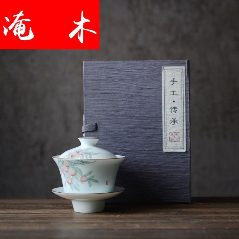Flooded peach wood issue a moment of jingdezhen hand - made three cup water chestnut tureen shadow celadon tea cup hot enamel