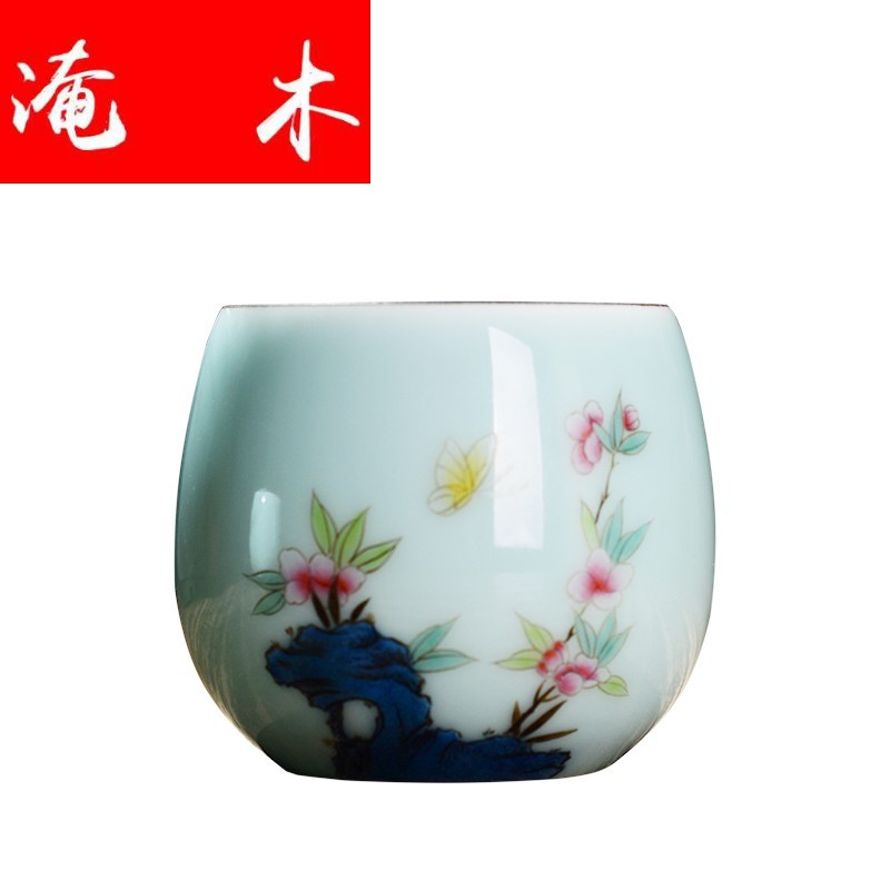 Submerged wood jingdezhen shadow green hand draw pastel single CPU personal cup master cup kung fu tea cups checking products