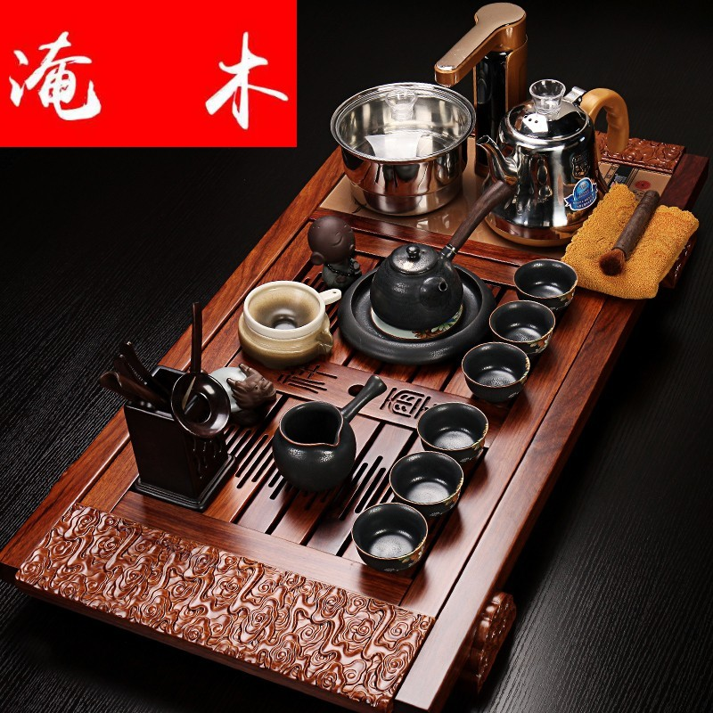 Submerged wood hua limu tea tray of a complete set of violet arenaceous elder brother up kung fu tea set four unity induction cooker tea tea set
