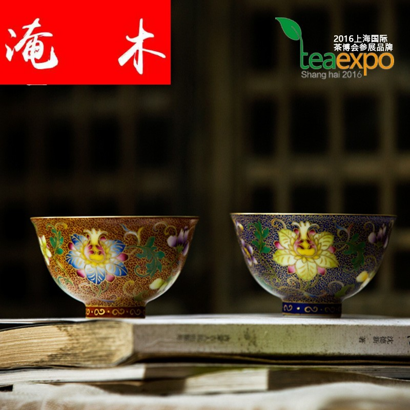 Submerged wood should the jingdezhen up manual hand - made colored enamel tea sample tea cup masters cup kung fu tea cups