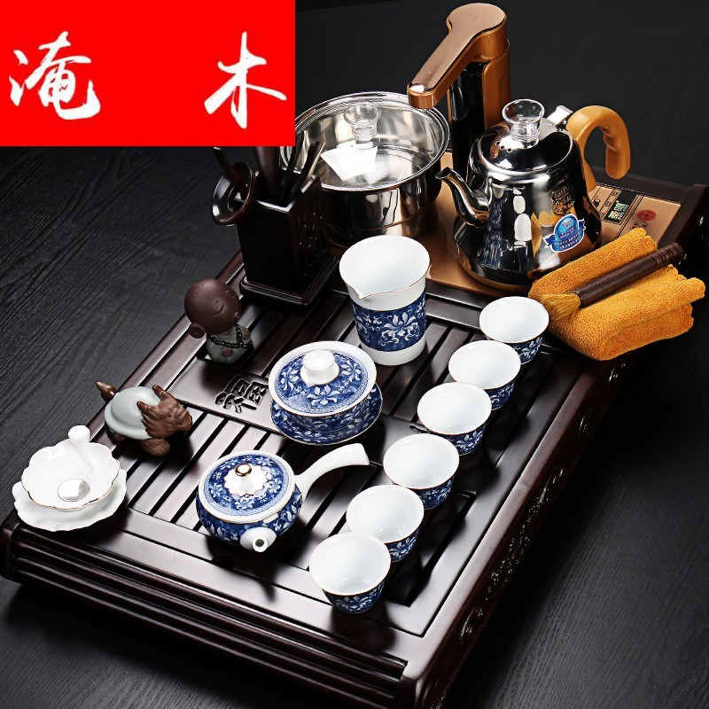 Flooded automatic tea sets ebony wood four unity induction cooker purple sand tea tray kungfu tea taking tea home