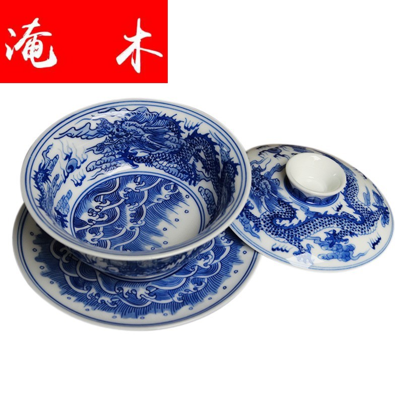 The Six surface wooden blue and white tureen hand - made dragon only three cups of tea bowl of jingdezhen ceramic checking large - sized archaize kung fu