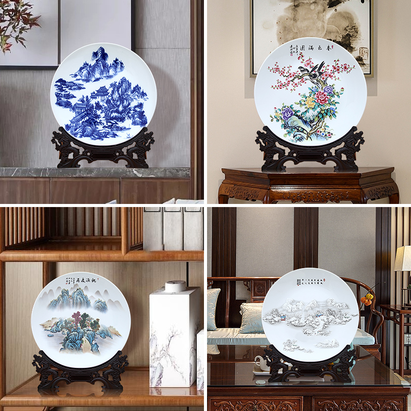 Jingdezhen ceramics furnishing articles household act the role ofing is tasted large famille rose porcelain decoration decoration plate plate custom hang dish the living room