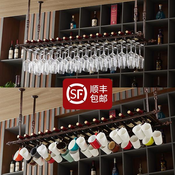 创意悬挂高脚杯架酒吧台红酒架家用吊杯架咖啡厅杯架红酒杯架摆件