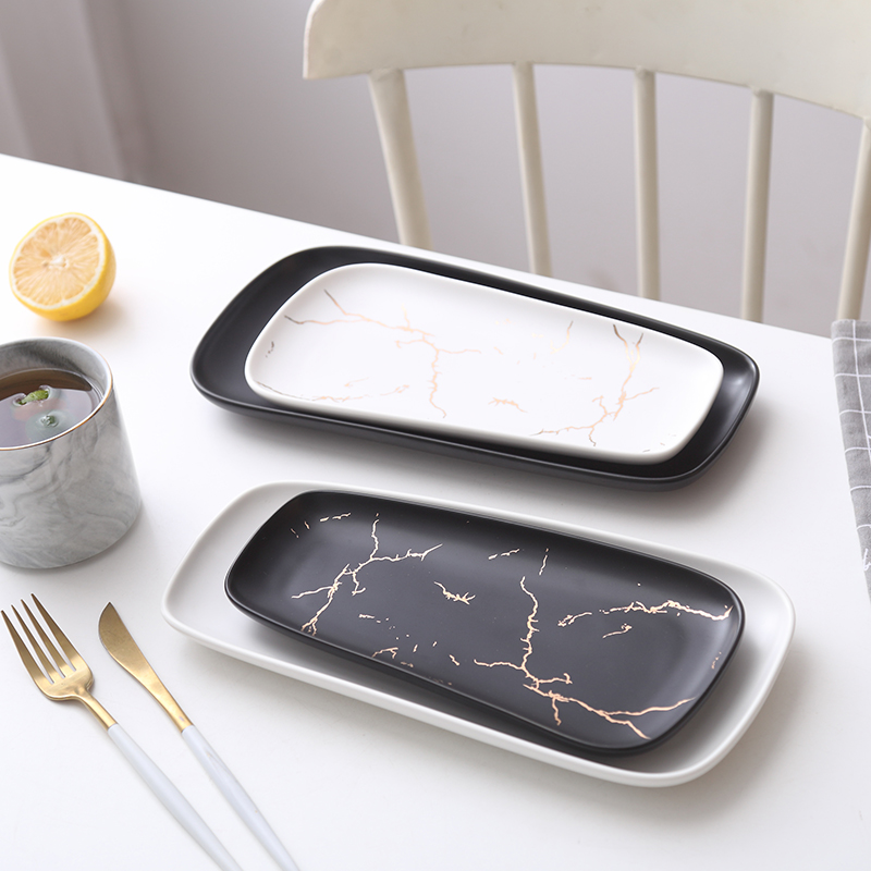 The Nordic disc marble matte enrolled gold ceramic strip plate sushi plate cold dish plate western food steak grail breakfast tray
