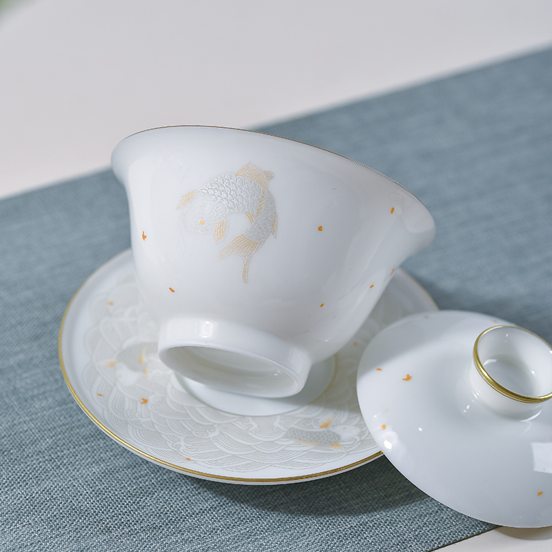 Jingdezhen flagship store only thin foetus small three tureen hand - made tea sets kunfu tea tureen tea cup home