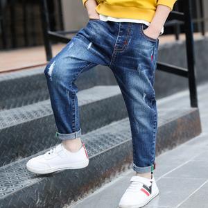 男童牛仔裤2019春秋新款韩版修身潮装中大童裤子个性洋气儿童长裤