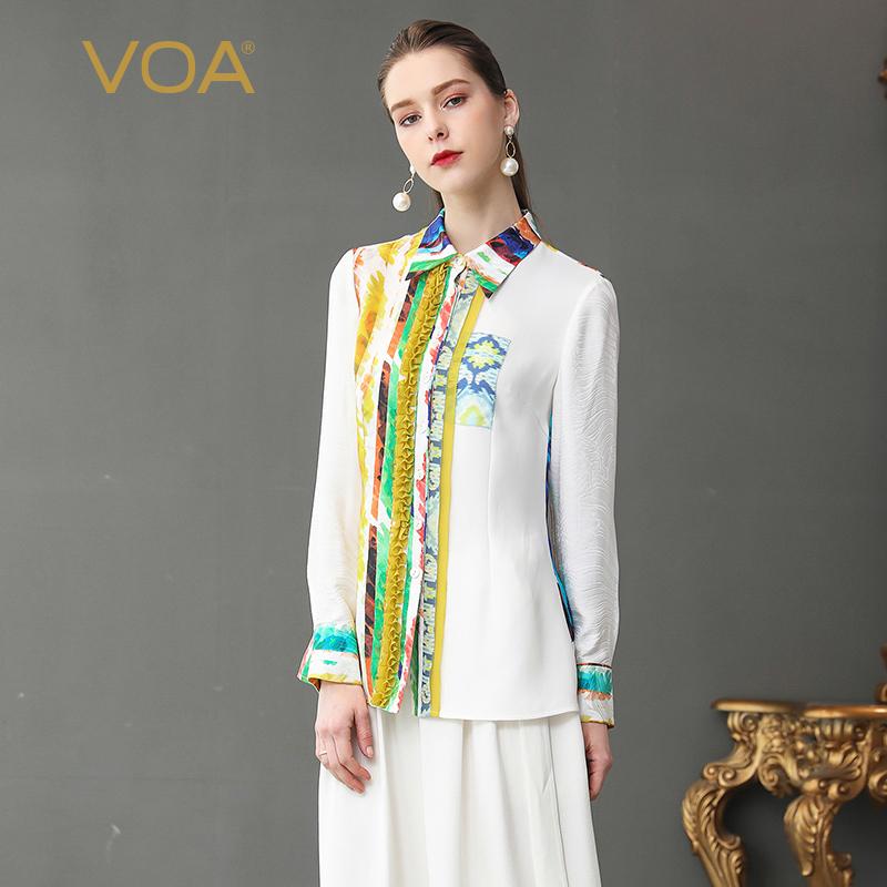 VOA白底黄蓝紫喷绘尖领长袖木耳边对丝单排扣不对称年轻真丝衬衣