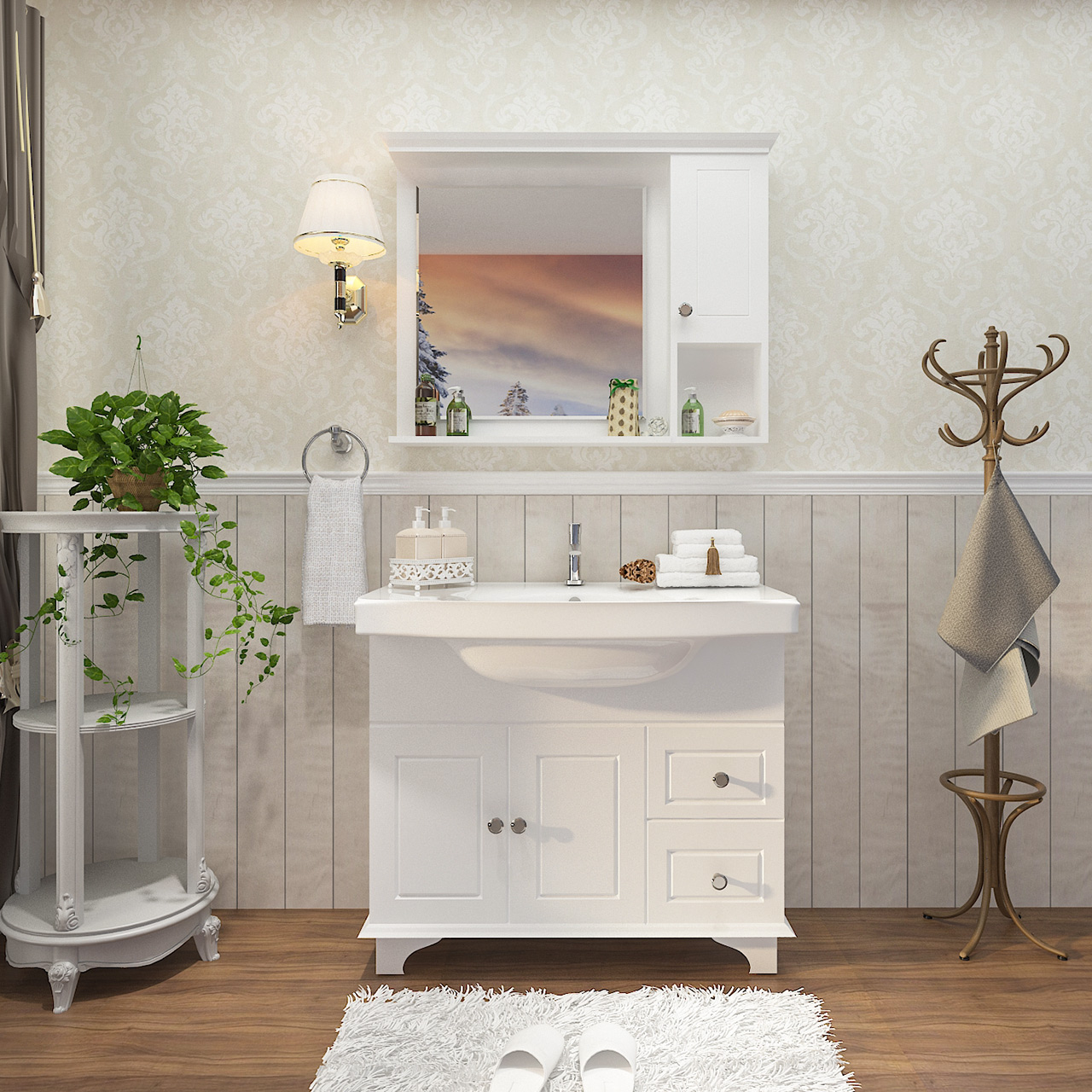 箭牌卫浴浴室柜组合洗手池洗脸面盆卫生间简约欧式落地式洗漱台盆