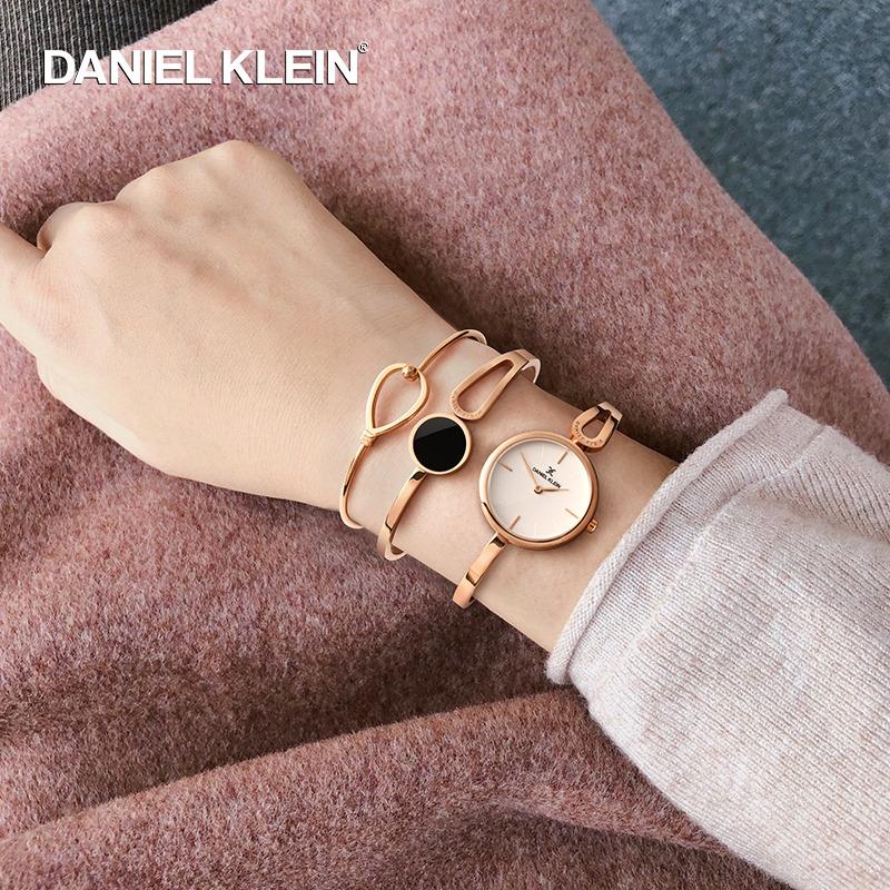 DanielKlein进口手表女DK腕表学生简约时尚女士手镯款手表套装