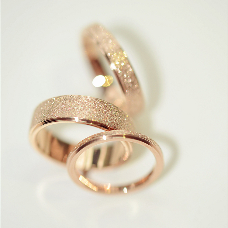 plated 18k rose gold frosted couple rings Forefinger ring tail