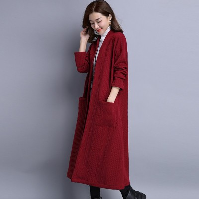 s28 autumn and winter boutique long paragraph thick long-sleeved commuter pocket art coat women's windbreaker daily specials large size