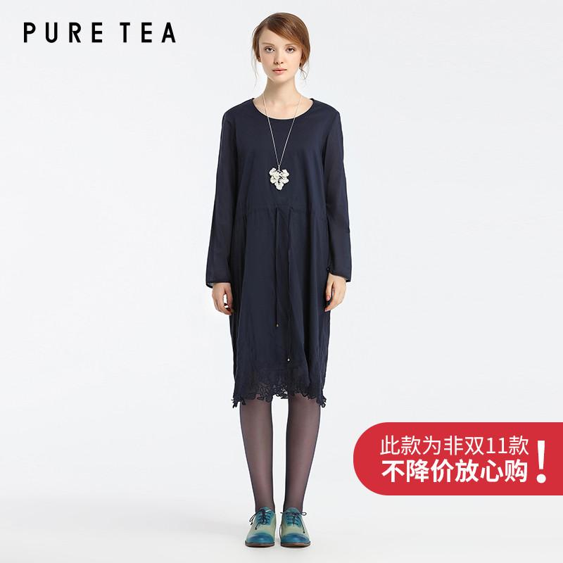EIN旗下品牌-PURETEA茶愫 棉质连衣裙蕾丝边下摆新