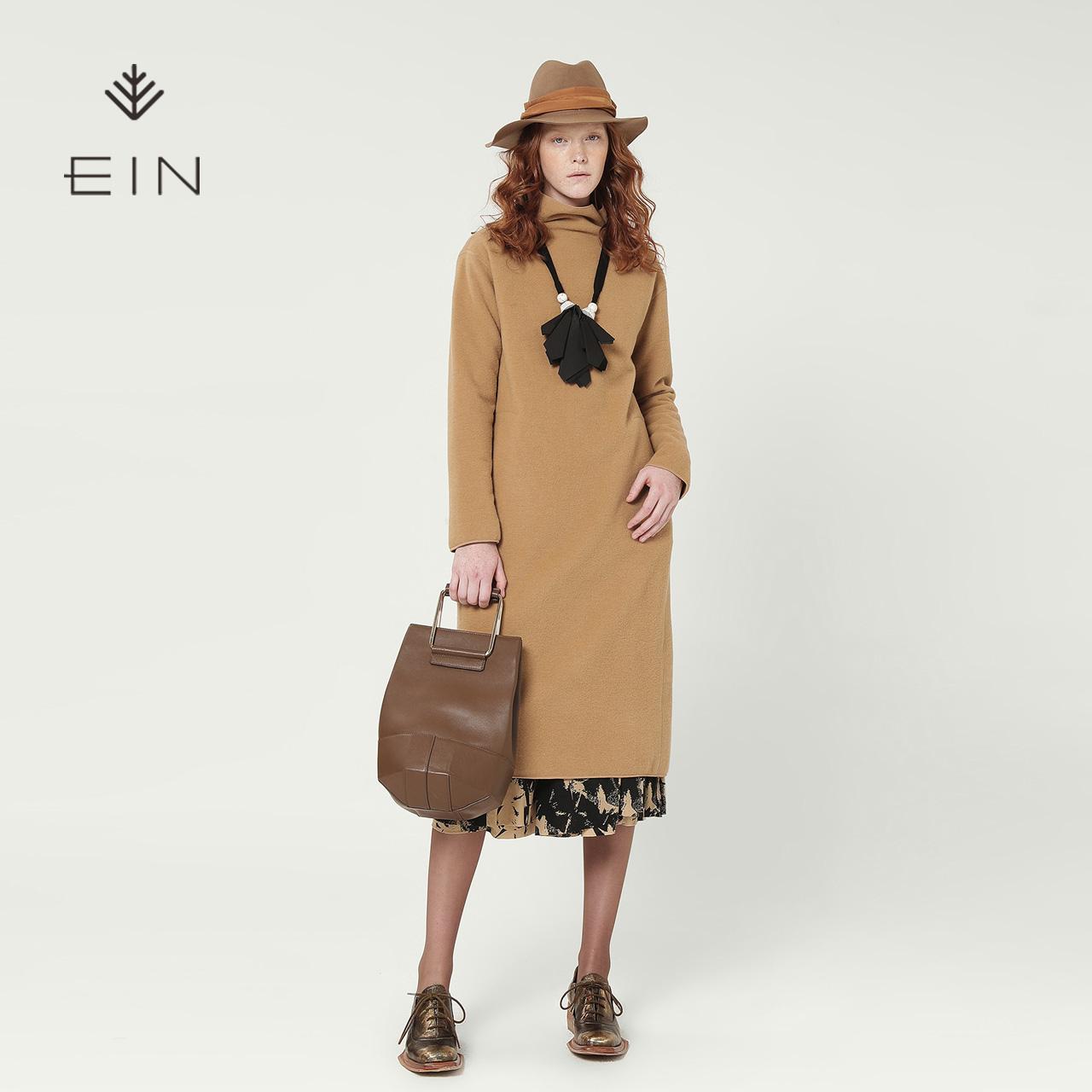 EIN-言羊毛纯色高领连衣裙套头中长款裙子复古文艺风2018秋冬新款