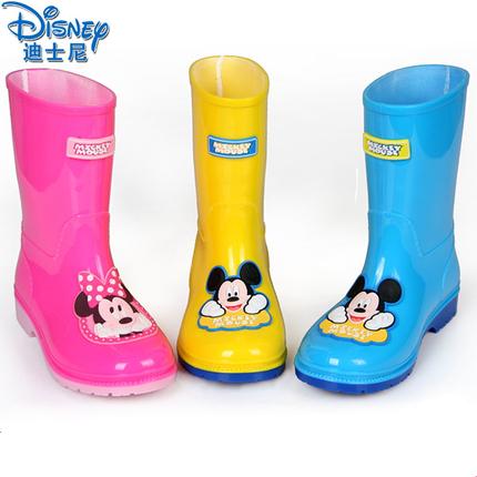 迪士尼儿童雨鞋防滑男童女童小孩水鞋小学生胶鞋小童宝宝雨靴加绒