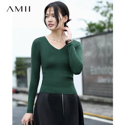 Amii[极简主义]2018秋装新简洁百搭基础款V领纯色毛衣女11764947