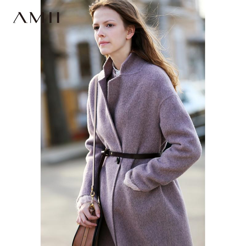 Amii极简欧美阿尔巴卡羊驼毛双面呢大衣2018秋冬新款宽松呢子外套