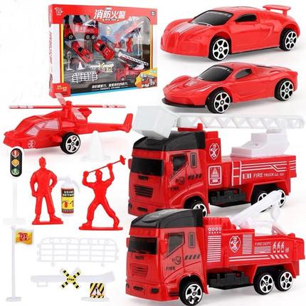 回力工程车玩具套装儿童消防吊车挖推土挖掘机巴士小汽车054A