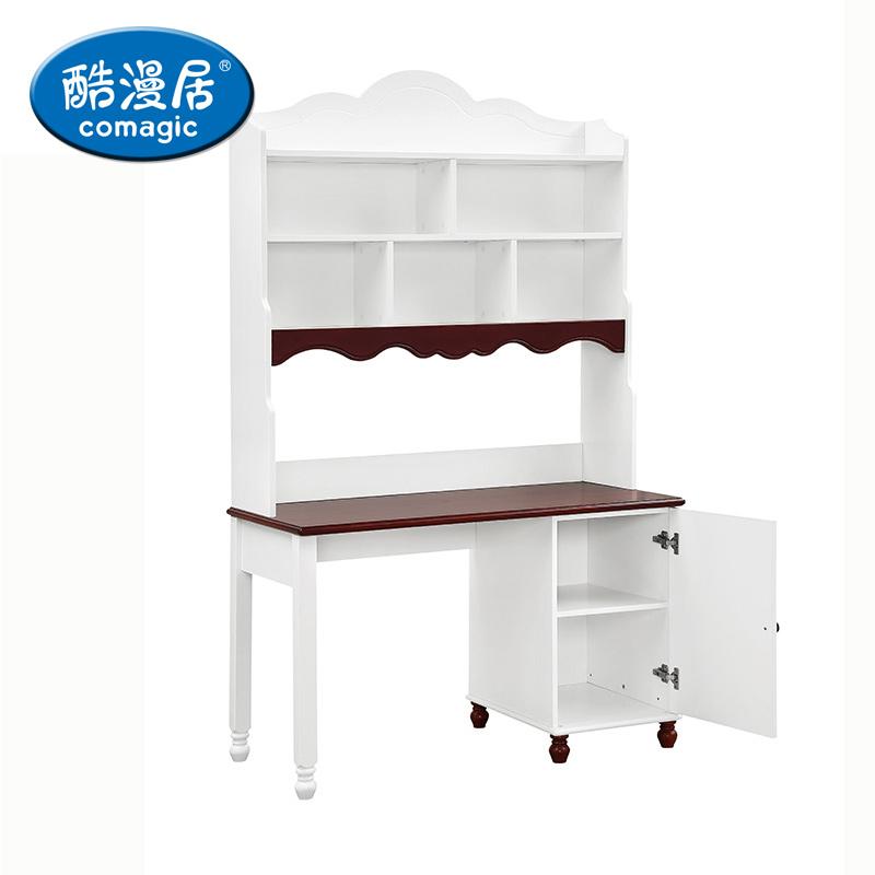 酷漫居儿童家具地中海白色松木写字桌地中海书桌+书架