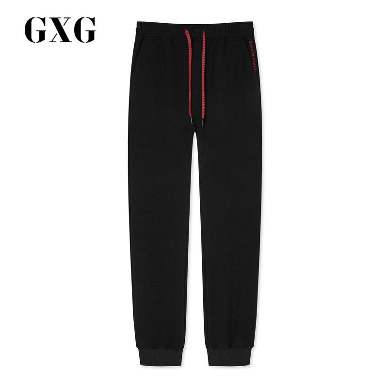 GXG男装2018秋季商场同款黑色字母刺绣休闲裤束腿裤男#GA102715E