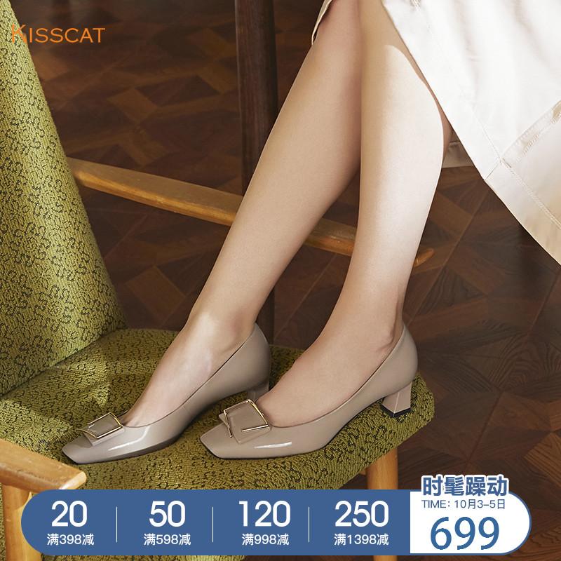 接吻猫2018秋季新款牛漆皮中跟粗跟时髦方头浅口单鞋女KA98501-11