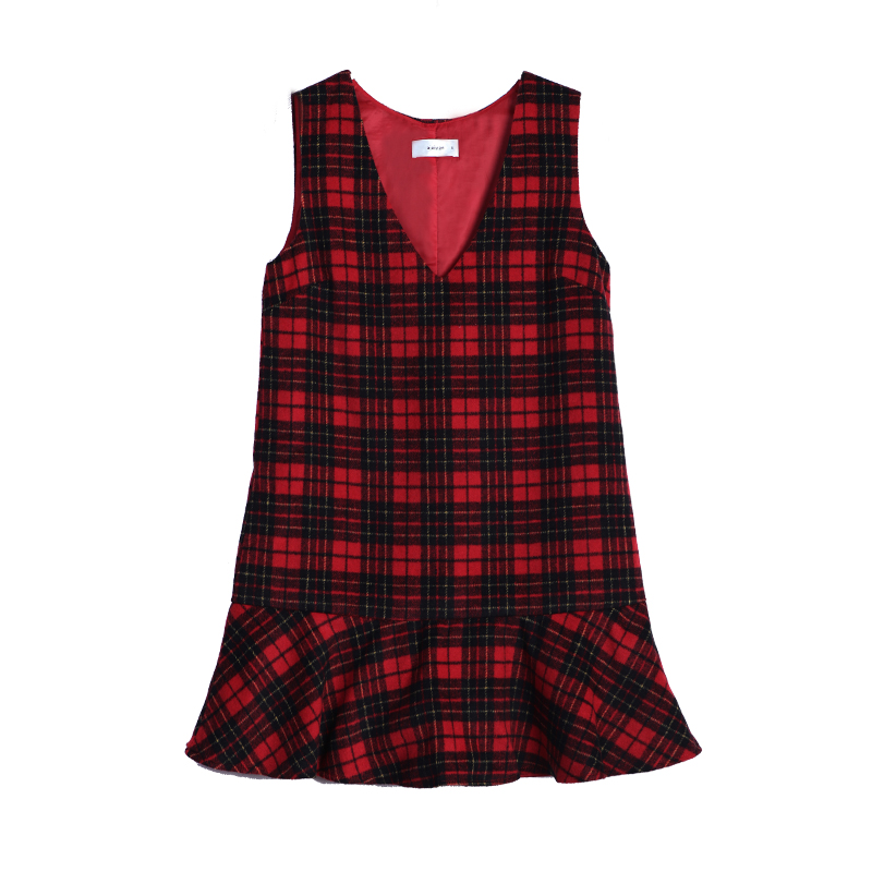 179 optional design winter two new temperament V led by age wave loose Red Plaid Dress dress dress