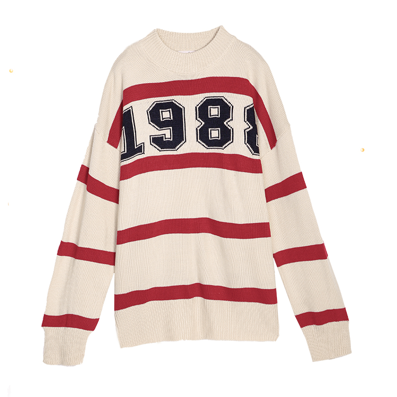 179 optional two cute Korean Pullover women loose in the long sleeved knit wool knit stripe neck