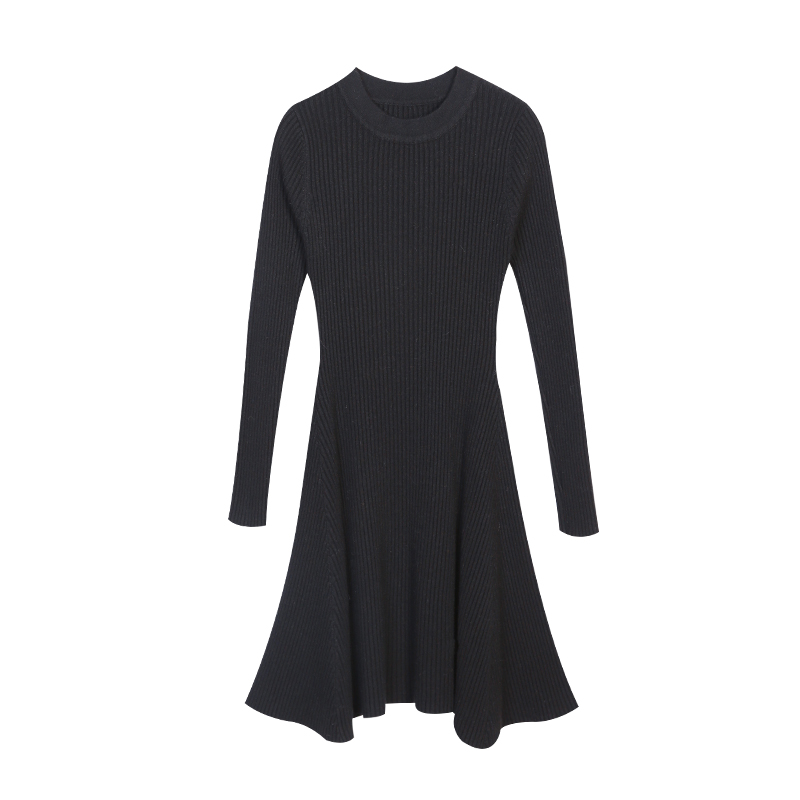 179 choose two pieces of spring thin knitted backing skirt waist turtleneck sweater dress female half head dress