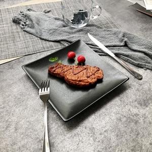 平盘黑色亚光磨砂牛排盘家用平底浅盘沙拉盘黑色盘子日式自助餐盘
