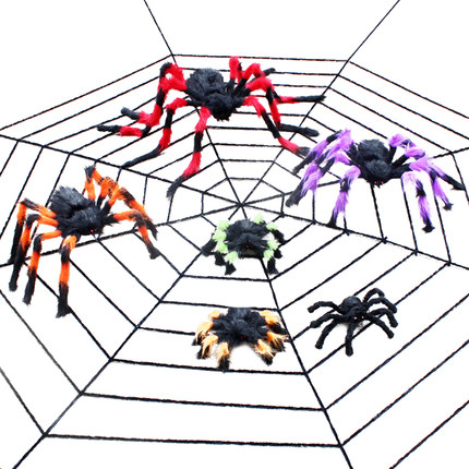 Halloween Decoration Spider Web Horror Scary Prop Haunted House Bar Spider Simulation White Cotton