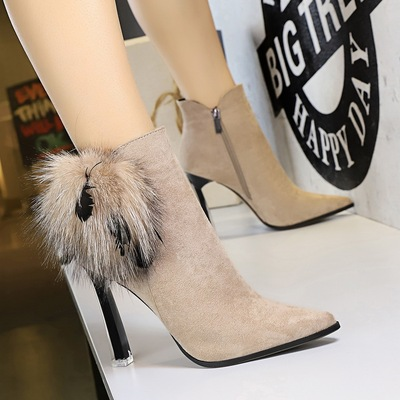 661-1 in Europe and America fashion female boots sexy party transparent crystal with high wind with suede short pointed