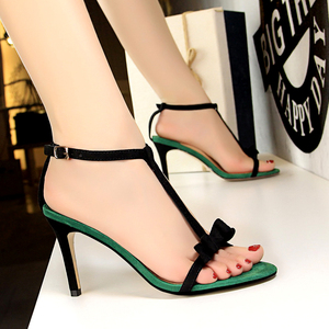 9005-1 han edition fashion high heels with suede color matching sweet T with small bowknot female open-toed sandals
