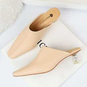 935-1 han edition fashion contracted mouth in baotou slippers crystal transparent to show small square female high-heele