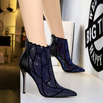 8663-8 European and American wind fashion sexy party with thin metal with ultra thin diamond nightclub short boots with