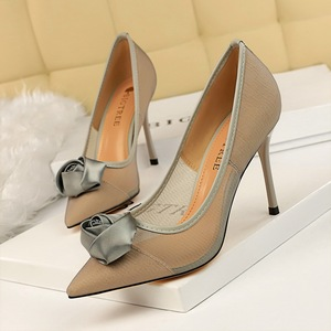 1853-2 in Europe and the sexy nightclub show thin fine mesh hollow out satin rose flowers single shoe with high heels